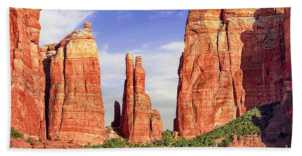 Arizona Beach Towel featuring the digital art Sedona Red Rock Cathedral Rock State Park by Bob and Nadine Johnston