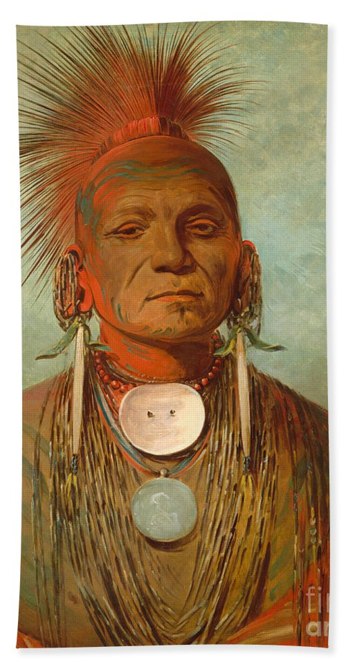 Chief Beach Towel featuring the painting See non ty a an Iowa Medicine Man by George Catlin