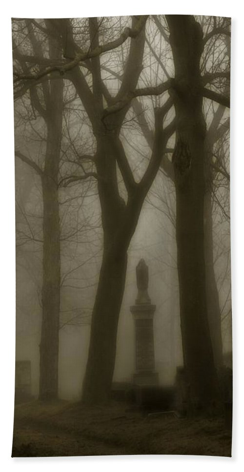 Fog Beach Towel featuring the photograph A Graveyard Seeped In Fog by Gothicrow Images