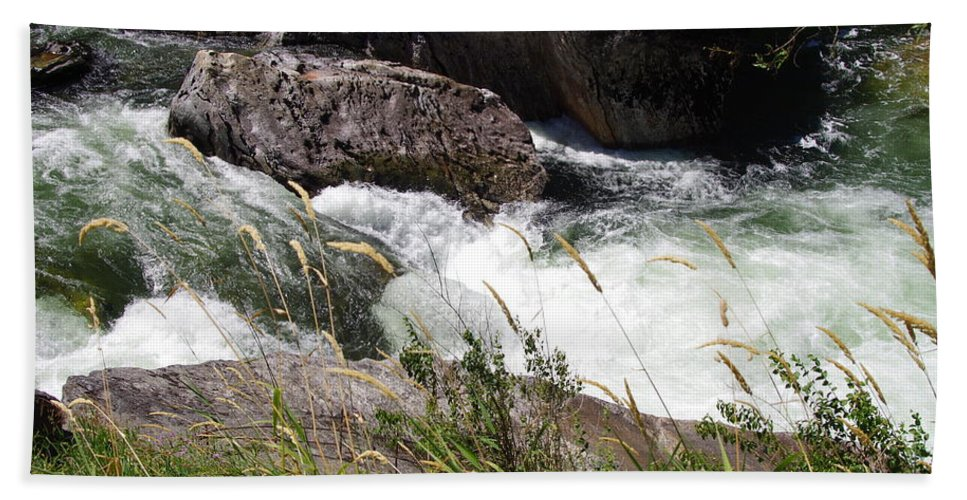 Water Falls Beach Towel featuring the photograph Selway Falls by Mike Wheeler
