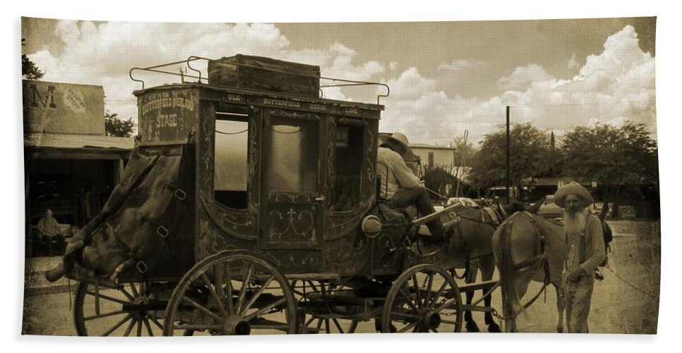 Sepia Stagecoach Beach Towel featuring the photograph Sepia Stagecoach by John Malone