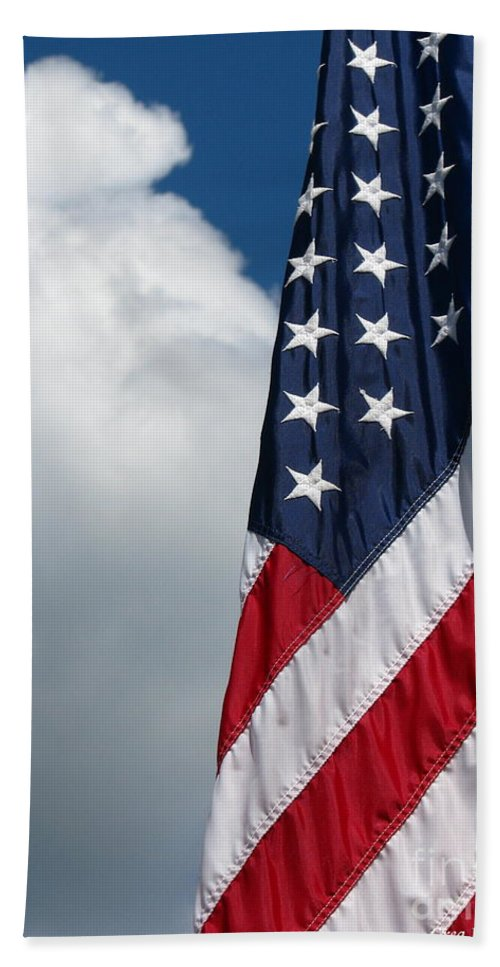 Art For The Wall...patzer Photography Beach Towel featuring the photograph September Flag by Greg Patzer