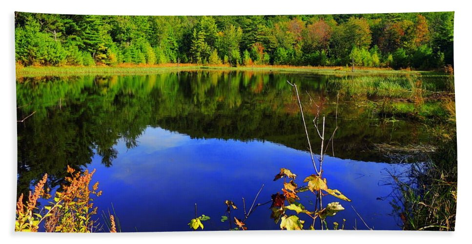 Durrell Mountain Beach Towel featuring the photograph September Reflections by Mim White