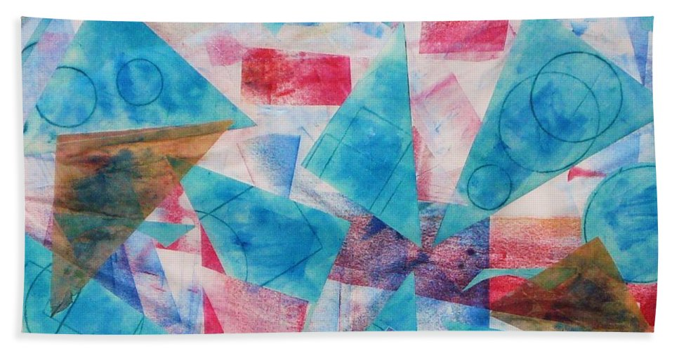 Collage Beach Towel featuring the painting Serendipity by Yael VanGruber