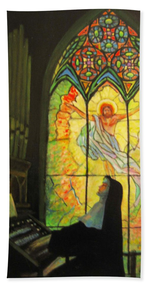 Catholic Beach Towel featuring the painting Serenity by Donna Tucker