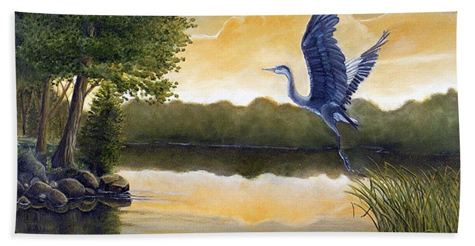 Rick Huotari Beach Towel featuring the painting Serenity by Rick Huotari