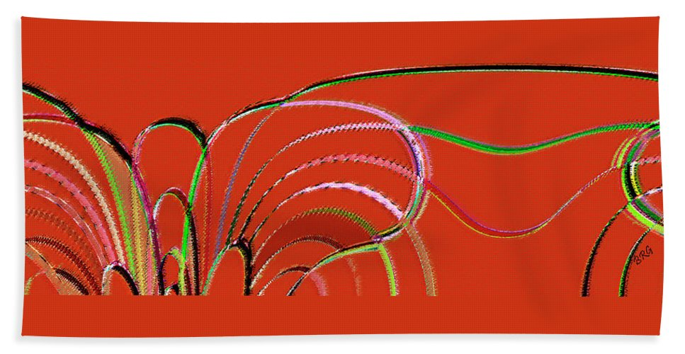 Red Abstract Beach Towel featuring the digital art Serpentine by Ben and Raisa Gertsberg