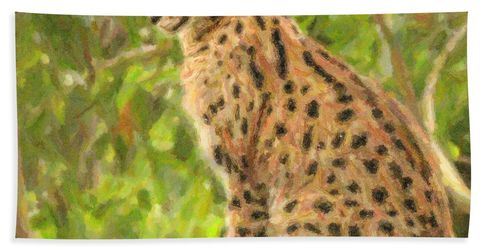 Serval Beach Towel featuring the digital art Serval Leptailurus Serval by Liz Leyden