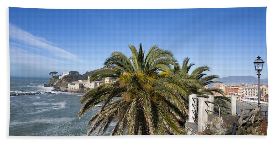 Village Beach Towel featuring the photograph Sestri Levante And Palm Tree by Mats Silvan
