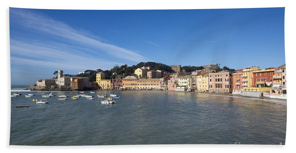 Village Beach Towel featuring the photograph Sestri Levante With Blue Sky by Mats Silvan