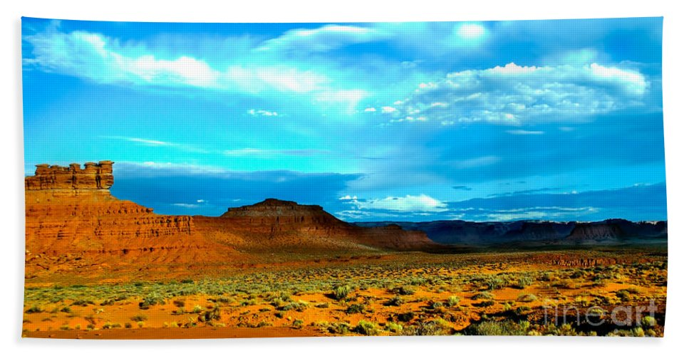 Valley Of The Gods Beach Towel featuring the photograph Seven Gods II by Robert Bales