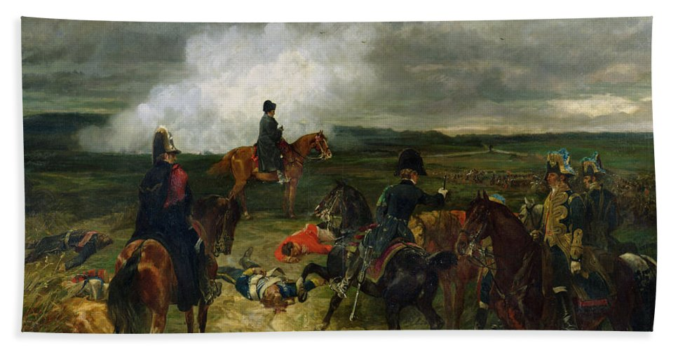 Waterloo Beach Towel featuring the painting Seventeenth June Eighteen Fifteen At Seven Oclock by John Lewis Brown
