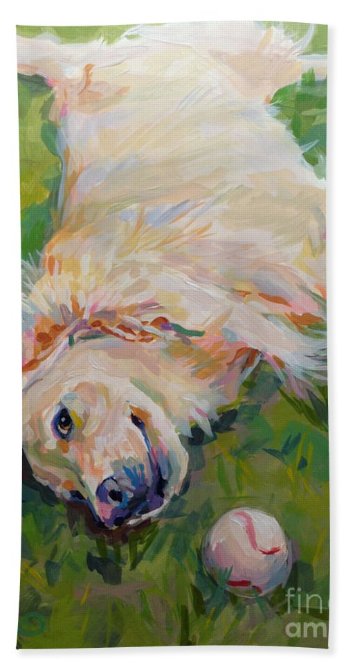 Golden Beach Towel featuring the painting Seventh Inning Stretch by Kimberly Santini