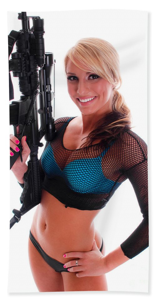 Gun Beach Towel featuring the photograph Sexy Woman Holding An Ar15 by Jt PhotoDesign