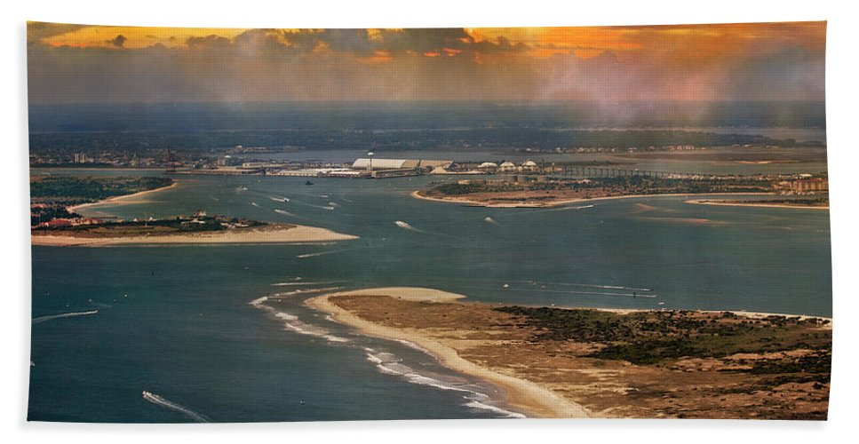 Aerial Beach Towel featuring the photograph Shackleford Banks Fort Macon North Carolina by Betsy Knapp
