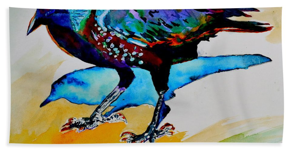 Crow Beach Towel featuring the painting Shadowland Visitor by Beverley Harper Tinsley