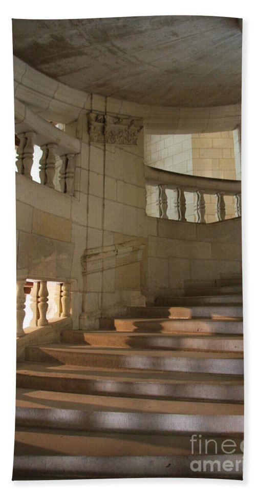 Staircase Beach Towel featuring the photograph Shadows On Chateau Chambord Stairs by Christiane Schulze Art And Photography