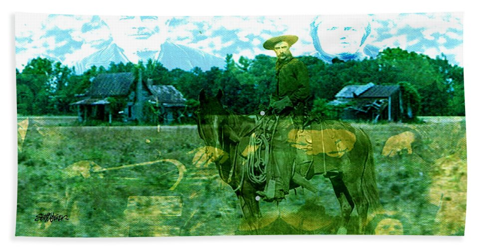Shadow On The Land Beach Towel featuring the digital art Shadows On The Land by Seth Weaver