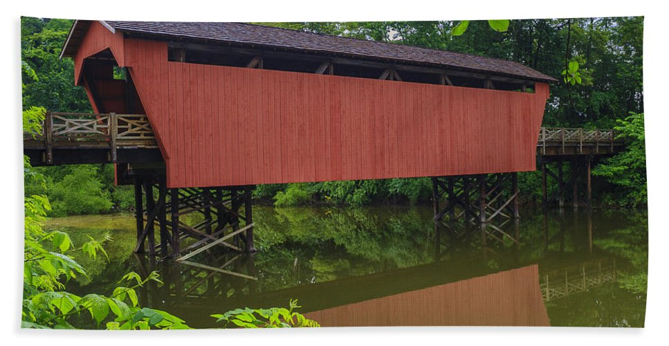 Ohio Beach Towel featuring the photograph Shaeffer Or Campbell Covered Bridge by Jack R Perry