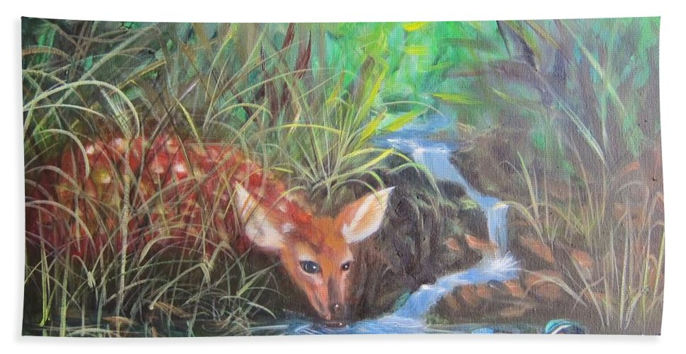 Deer Beach Towel featuring the painting Sharing The Pond by Sherry Strong