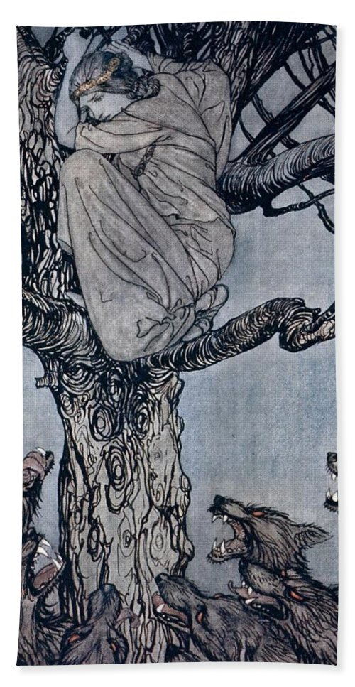 Fairy Story; Fairy Tale; Female; Tree; Wolf; Snarling; Branches; Hiding; Princess; Irish Mythology; Myth; Legend Beach Towel featuring the drawing She Looked With Angry Woe At The Straining And Snarling Horde Below Illustration From Irish Fairy by Arthur Rackham