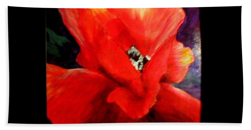 Floral Beach Towel featuring the painting She Wore Red Ruffles by Gail Kirtz
