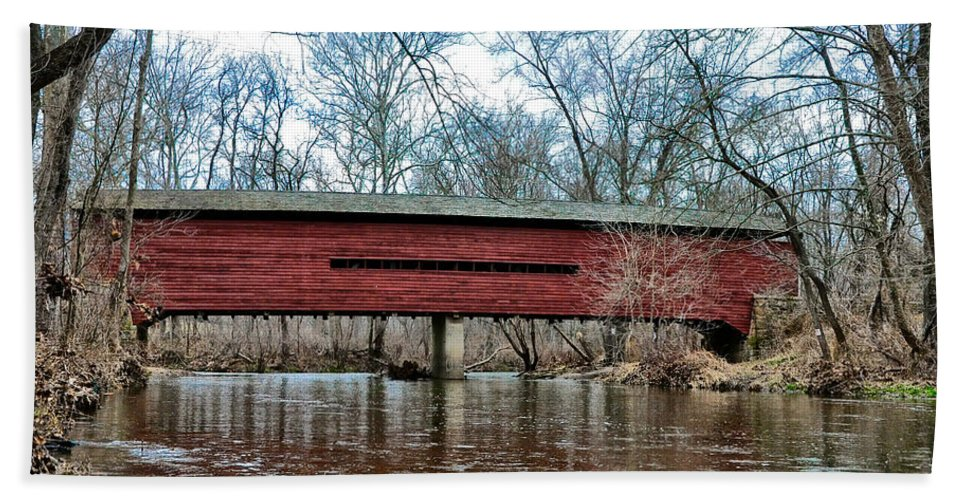 Sheeder Beach Towel featuring the photograph Sheeder - Hall - Covered Bridge Chester County Pa by Bill Cannon