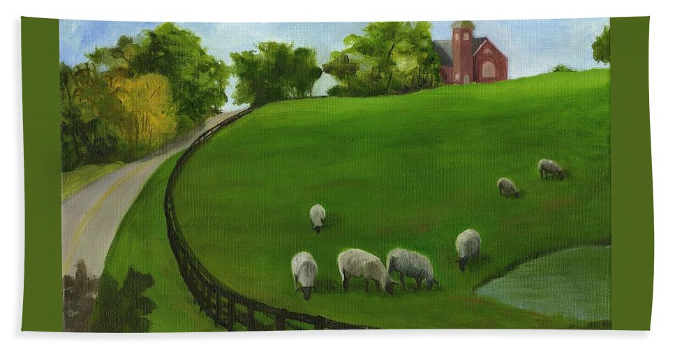 Farm Scenes. Pasture Scenes Beach Towel featuring the painting Sheep May Safely Graze by Deborah Butts