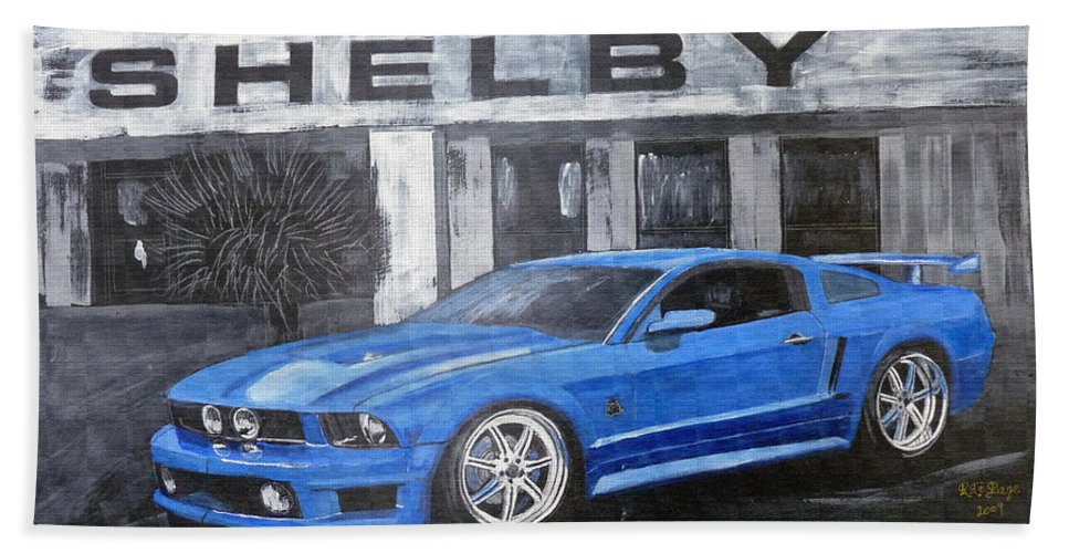 Shelby Beach Towel featuring the painting Shelby Mustang by Richard Le Page