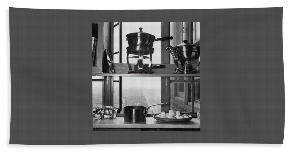Kitchen Beach Towel featuring the photograph Shelves In Front Of A Window In Vivian Roome's by Luis Lemus