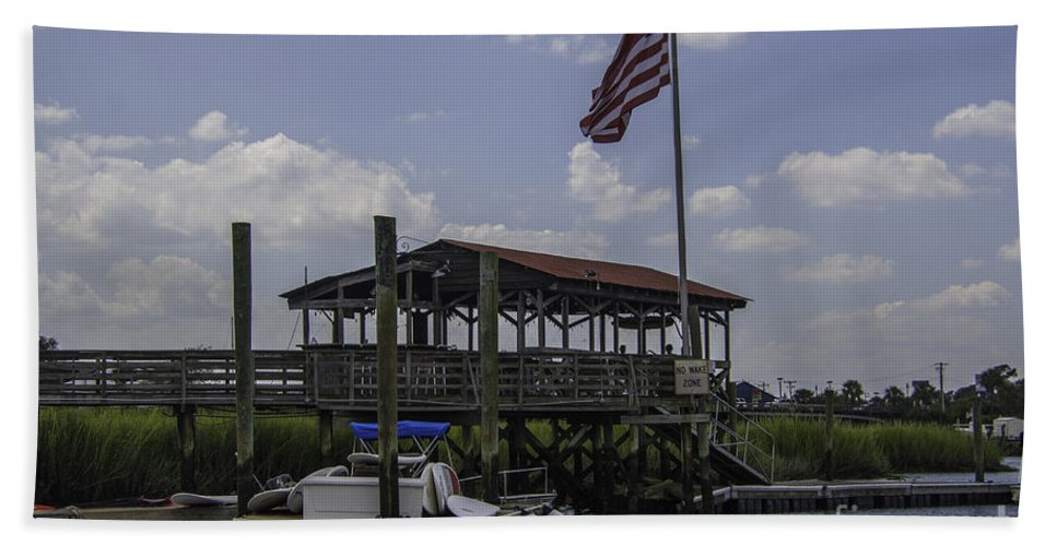 Shem Creek Beach Towel featuring the photograph Shem Creek Bar And Grill by Dale Powell