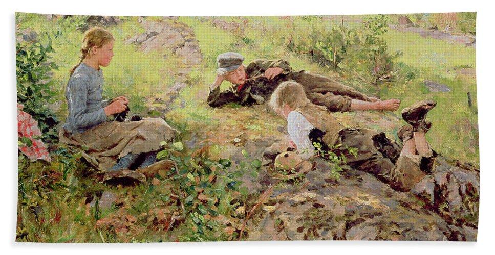 Shepherds Beach Towel featuring the painting Shepherds by Erik Theodor Werenskiold