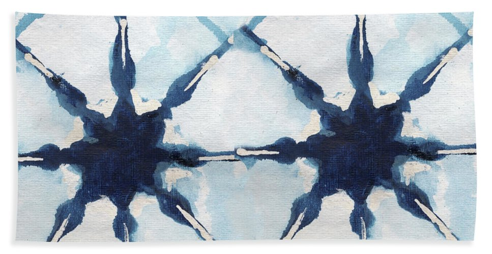 Shibori Beach Towel featuring the digital art Shibori II by Elizabeth Medley