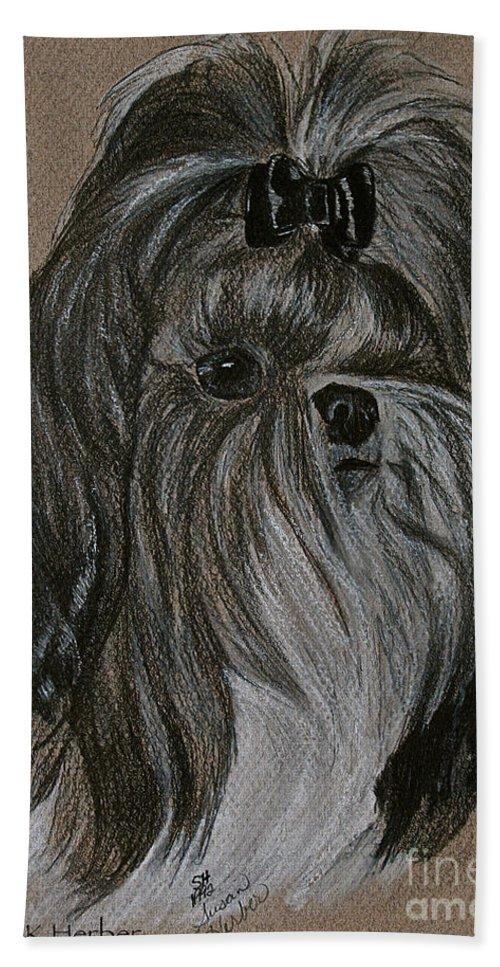 Shih Tzu Beach Towel featuring the drawing Shih Tzu by Susan Herber