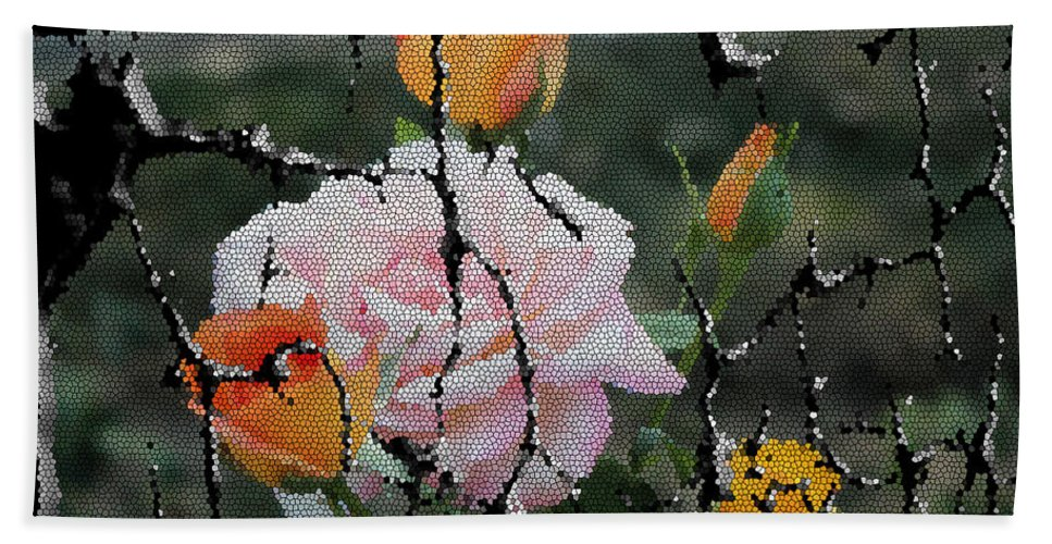 Yellow Roses Beach Towel featuring the painting Shinning Roses Photo Manipulation by Georgeta Blanaru