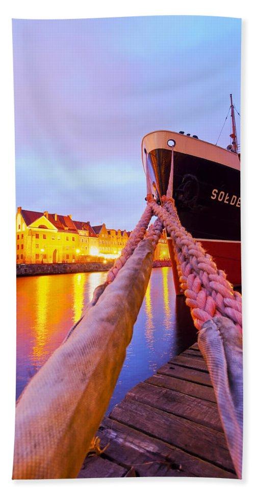 Ship Beach Towel featuring the photograph Ship In Harbor by Karol Kozlowski