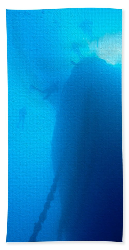 Thistlegorm Beach Towel featuring the digital art Ship Wreck With Divers by Roy Pedersen