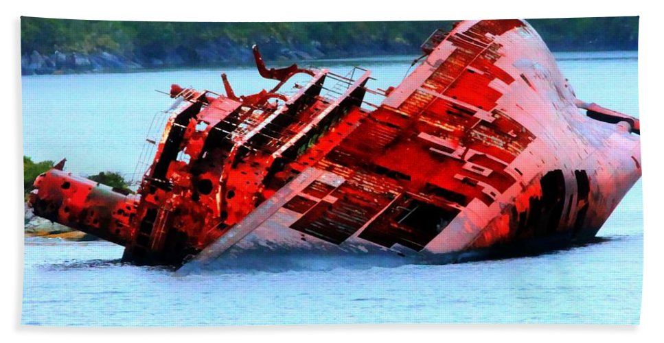 Chile Beach Towel featuring the photograph Chile Shipwreck by Tap On Photo