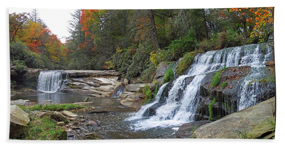 Duane Mccullough Beach Towel featuring the photograph Shoal Creek Area Waterfalls by Duane McCullough