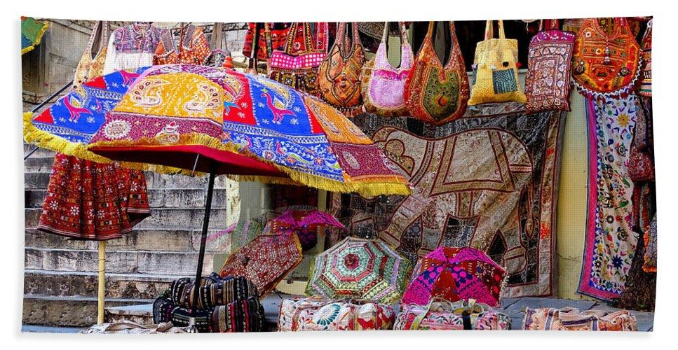 31056a2e422b Shopping Beach Sheet featuring the photograph Shopping Colorful Bags Sale  Jaipur Rajasthan India by Sue Jacobi