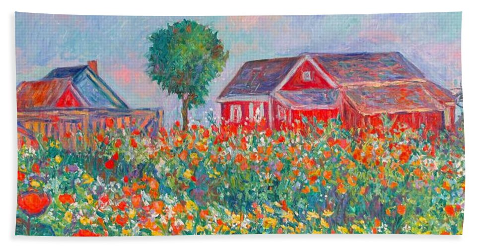 Landscape Beach Towel featuring the painting Shore Flowers by Kendall Kessler