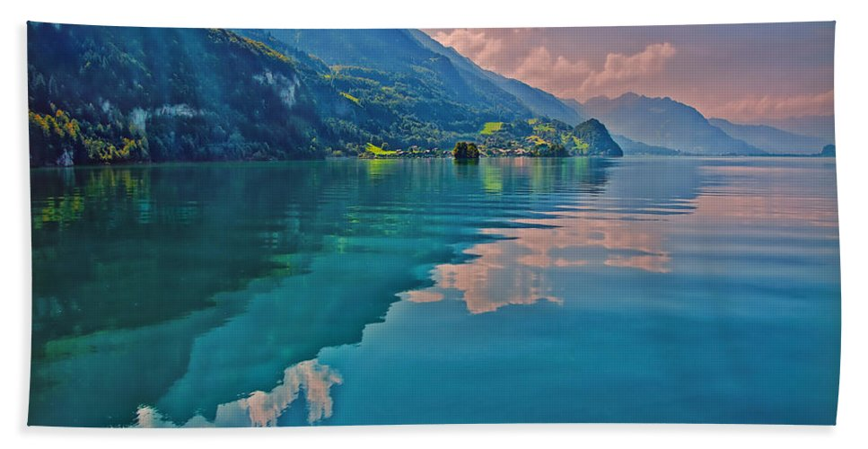 Switzerland Beach Towel featuring the photograph Shore Reflection by Hanny Heim
