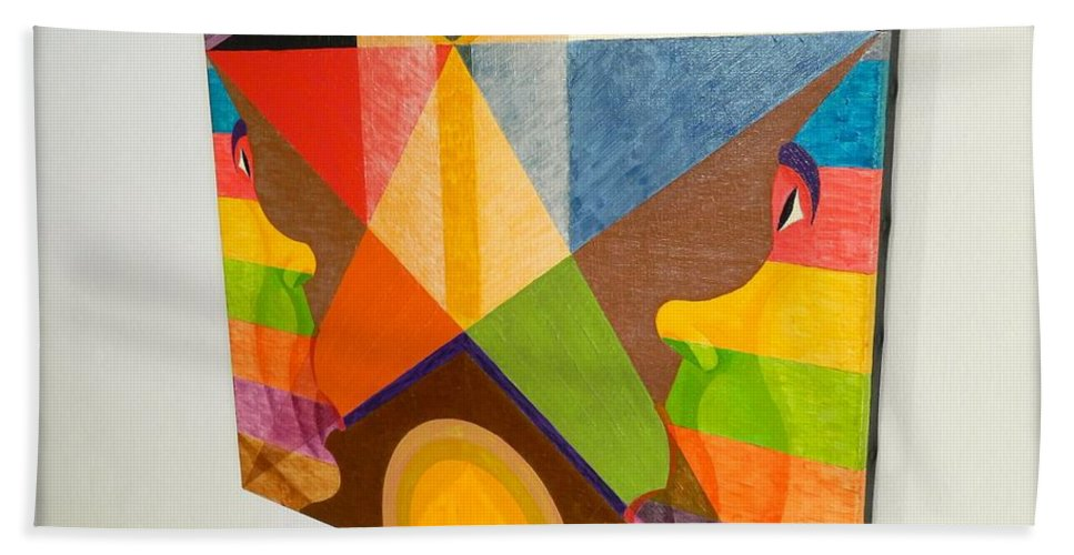Spirituality Beach Towel featuring the painting Shot Shift - Dieu Louable 2 by Michael Bellon