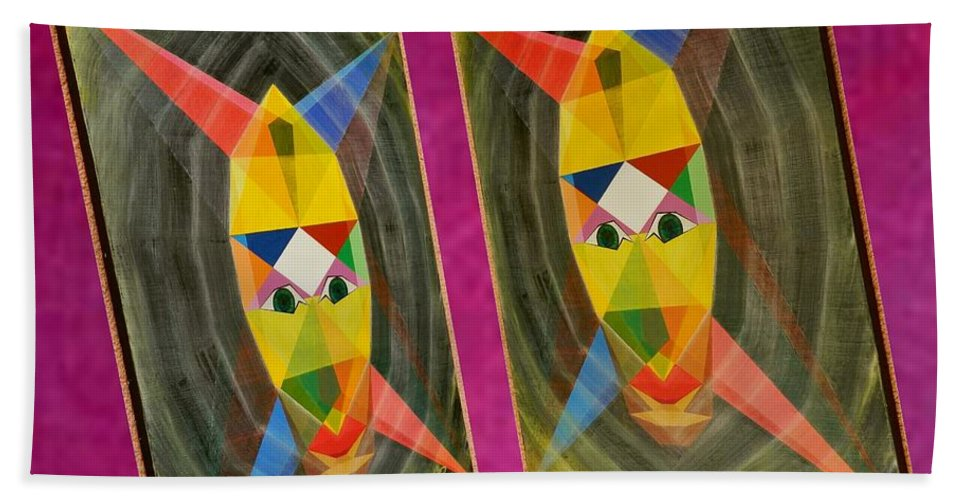 Modernism Beach Towel featuring the painting Shots Shifted - Le Mage 5 by Michael Bellon