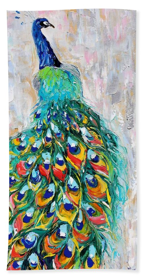 Peacock Beach Towel featuring the painting Showy Peacock by Karen Tarlton