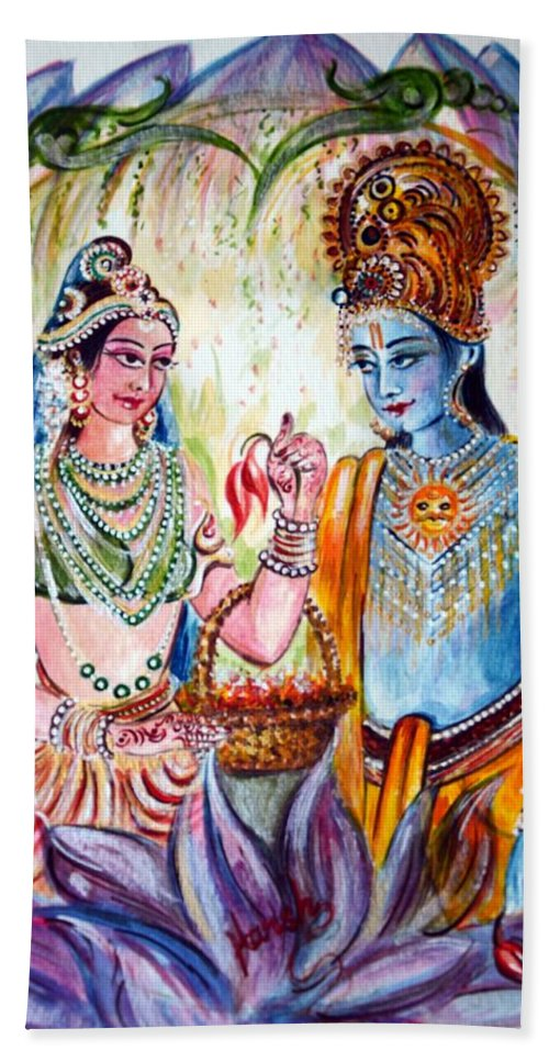 Rama Beach Towel featuring the painting Shree Sita Ram by Harsh Malik