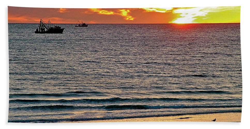 Shrimp Boats And Gulls Over Sea Of Cortez At Sunset From Playa Bonita Beach In Puerto Penasco Beach Towel featuring the photograph Shrimp Boats And Gulls Over Sea Of Cortez At Sunset From Playa Bonita Beach-mexico by Ruth Hager
