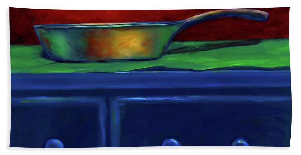 Blue Chest Beach Towel featuring the painting Side Iron by Shannon Grissom