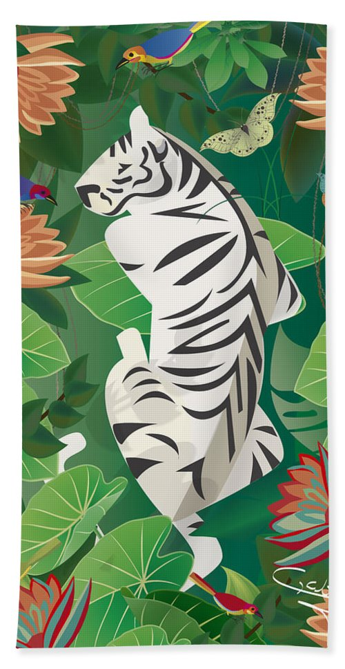 Tiger Beach Towel featuring the digital art Siesta Del Tigre - Limited Edition 2 Of 15 by Gabriela Delgado