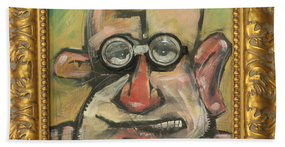 Sigmund Freud Beach Towel featuring the painting Sigmund Mit Frame by Tim Nyberg